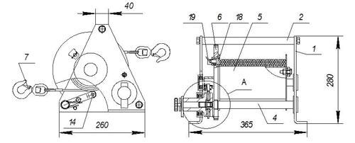 Габаритные размеры ручной барабанной лебедки Дина-2