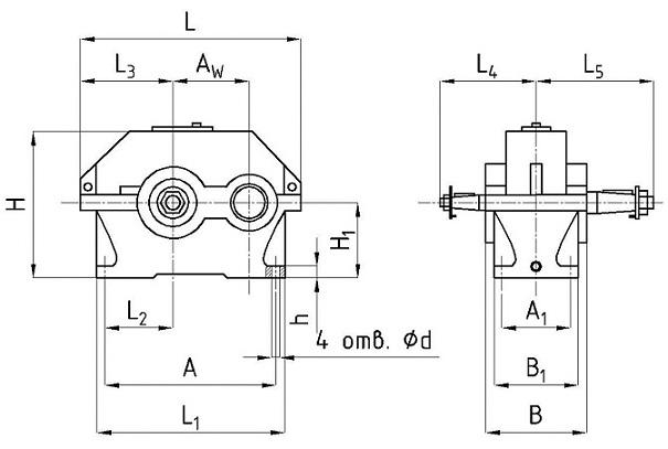 Редуктор 1ЦУ-200 цилиндрический одноступенчатый