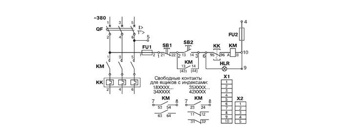 Схема электрическая принципиальная ящика управления Я5110