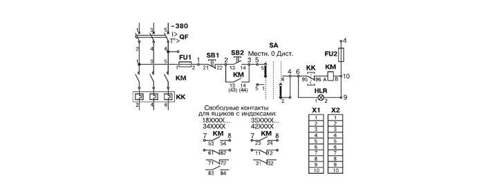 Схема электрическая принципиальная ящика управления Я5111