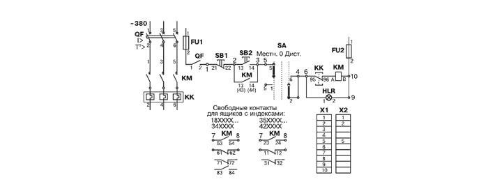 Схема электрическая принципиальная ящика управления Я5113