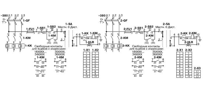 Схема электрическая принципиальная ящика управления Я5115