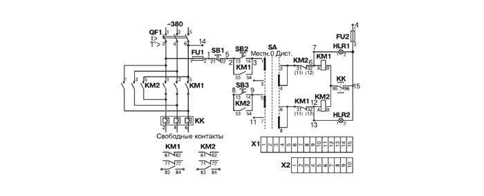 Схема электрическая принципиальная ящика управления Я5411